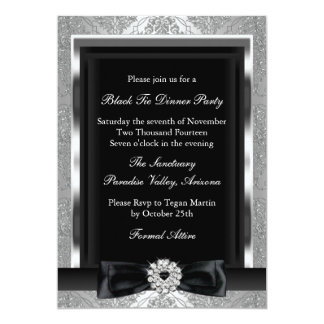 Damask & Bow Formal Black Tie Dinner Party Invite