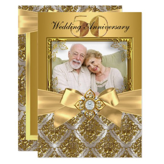 Damask Bow Photo Gold 50th Anniversary Invite Zazzle Com