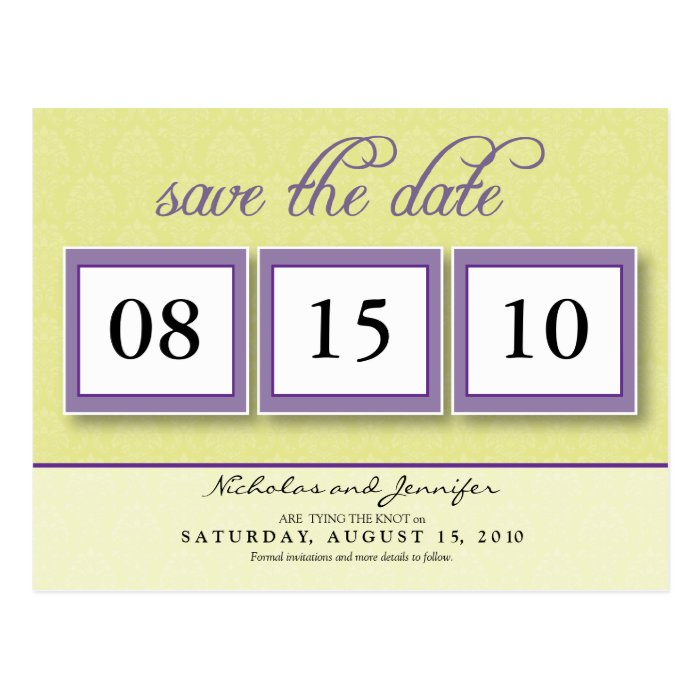 Damask Box Trio Save the Date Postcard (canary)