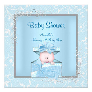 Damask Boy Baby Shower Blue White Floral Announcements