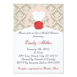 Damask Bridal Shower Gold Red Card