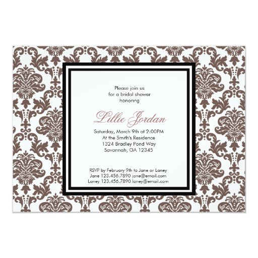 "Damask Bridal Shower Invitation 5"" X 7"" Invitation Card"