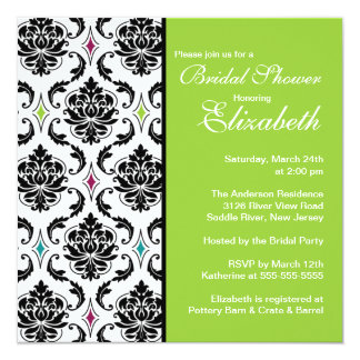 Damask Bridal Shower Invitation Black & Lime Green