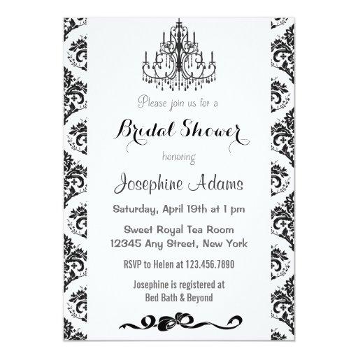 Damask bridal shower invites black and white zazzle for Black and white bridal shower invitations