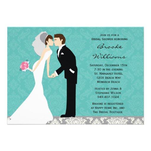 Damask Bride And Groom Wedding Shower Invitation
