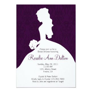 Damask Bride - Bridal Shower Invitaion (Plum) Card