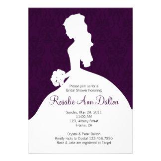 Damask Bride - Bridal Shower Invitaion (Plum) Personalized Invitations