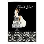 Damask Bride Bridal Shower Thank You Note Card