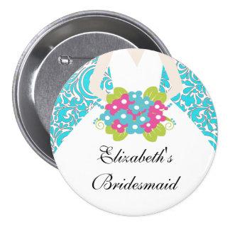 Damask Bride Bridesmaid  Button / Pin Green