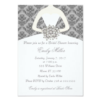 Damask Bride Grey Bridal Shower Invitation