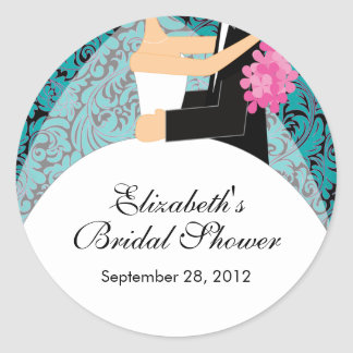Damask Bride Groom Bridal Shower Sticker Turquoise