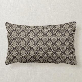 Damask Brown Beige Pattern Throw Pillow
