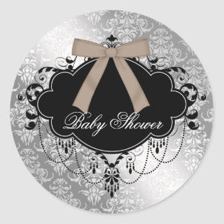 Damask Brown Black Baby Boy Shower Sticker