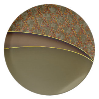 Damask brown pattern plate for anyone