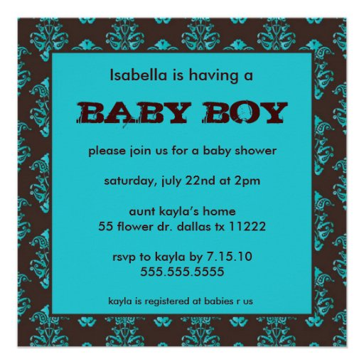 damask brown turquoise baby boy shower invite zazzle
