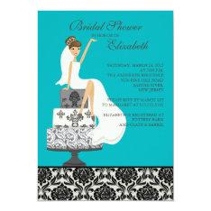 Damask Brunette Bride Bridal Shower Invitation at Zazzle