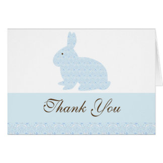 Damask Bunny Rabbit Baby Shower Thank You Greeting Card