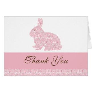 Damask Bunny Rabbit Baby Shower Thank You Card