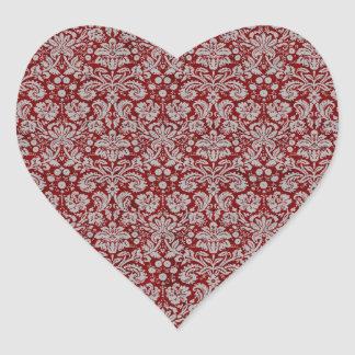 Damask Burgundy Heart Sticker