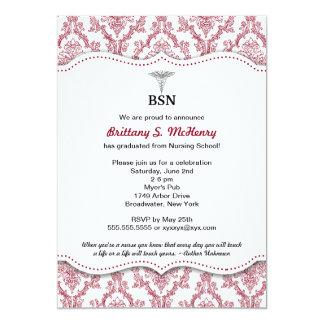 Damask Burgundy Nurse pinning graduation BSN RN Card