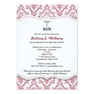 Damask Burgundy Nurse pinning graduation BSN RN 5x7 Paper Invitation Card