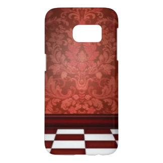 Damask Burgundy Red Black White Checker Print Samsung Galaxy S7 Case