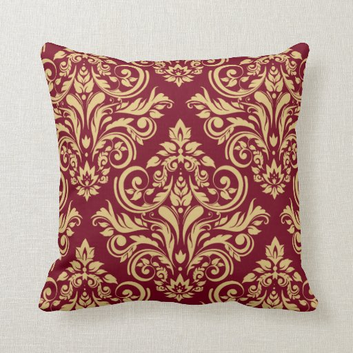Burgundy Color Decorative Pillows : Damask - burgundy sand throw pillow Zazzle