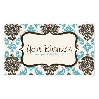 damask Business Card (blue/brown)