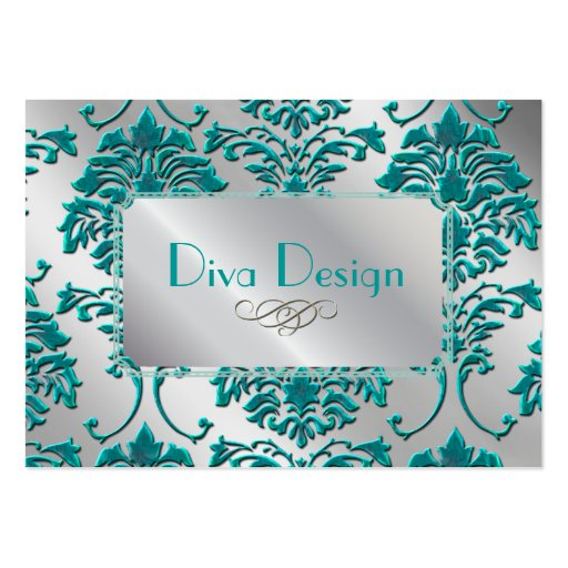Damask business card in teal green on silver tone