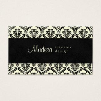 Damask Business Card Interior Design Cream Black 2