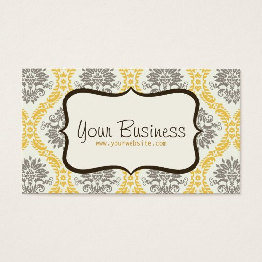 Damask Business Card (Yellow, Brown)