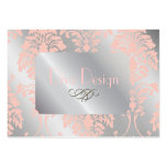 Damask business cards, pale pink silver tone