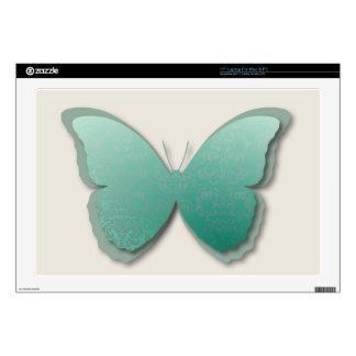 "Damask Butterfly (Blue Green) Skins For 17"" Laptops"
