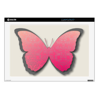 "Damask Butterfly (Coral & Grey) 17"" Laptop Skin"