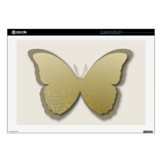 Damask Butterfly (Golden Green) Decal For Laptop