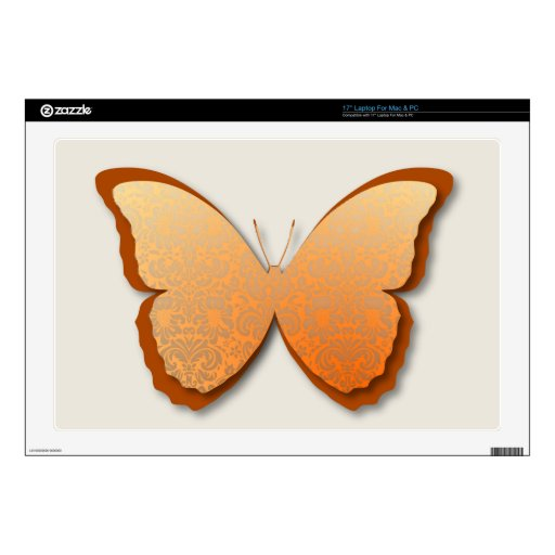 """Damask Butterfly (Orange) Decal For 17"""" Laptop"""