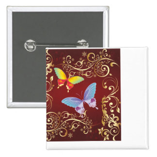 Damask Butterfly Pair Button