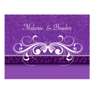 Damask Butterfly Save the Date Invitation Postcard