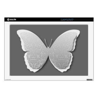 Damask Butterfly (Silver) Skin For Laptop