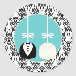 Damask Cake Pop Wedding Envelope Seals Classic Round Sticker