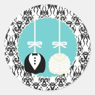 Damask Cake Pop Wedding Envelope Seals Sticker