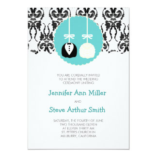 Damask Cake Pop Wedding Invitations