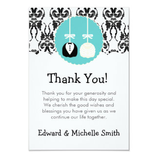 Damask Cake Pop Wedding Thank You Notes Card