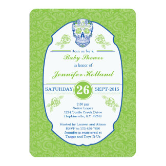 Damask Calavera Skull Baby Shower Invitation Green