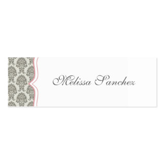 damask calling card {skinny} Double-Sided mini business cards (Pack of 20)