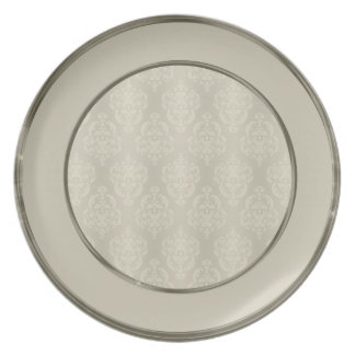 Damask Candlelight Cream Border Melamine Plate