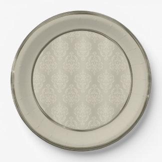Damask Candlelight Cream Border Paper Plate