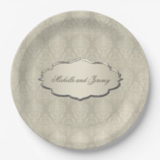 Damask Candlelight Cream Paper Plate