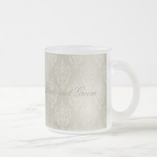 Damask Candlelight Frosted Glass Coffee Mug