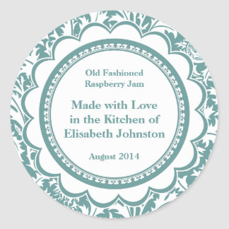 Damask Canning Labels for Homemade Jams, Jellies Classic Round Sticker